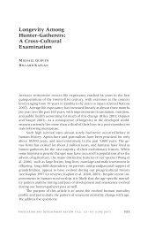 Longevity among Hunter-Gatherers: A cross-cultural examination