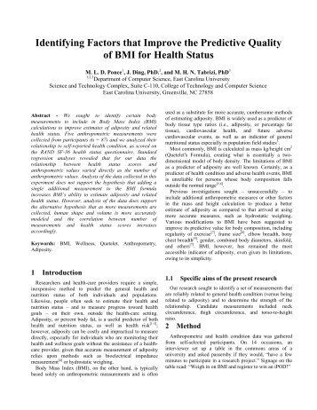 Identifying Factors that Improve the Predictive Quality of BMI for ...