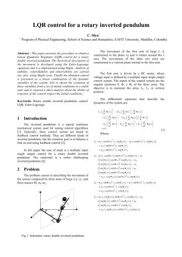 LQR control for a rotary double inverted pendulum - Nguyen Dang ...