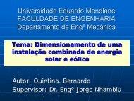 Dimensionamento de uma Instalação Combinada de Energia Solar ...