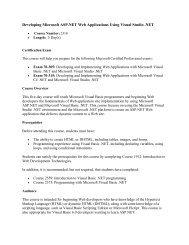 Developing Microsoft ASP.NET Web Applications Using Visual ...
