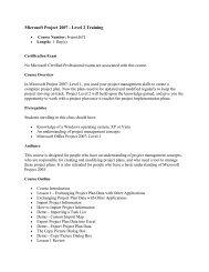 Microsoft Project 2007 Level 2 - New Horizons Ireland e-Learning ...