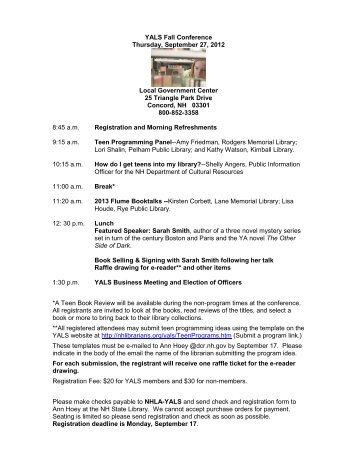 YALS Fall Conference Thursday, September 27, 2012 Local ...