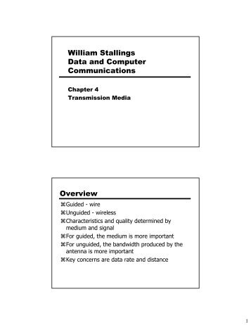 William Stallings Data and Computer Communications Overview