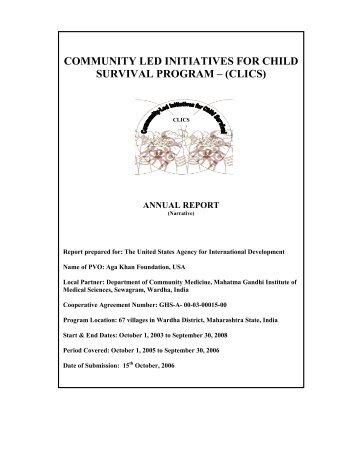 community led initiatives for child survival program ? (clics) - Nipccd