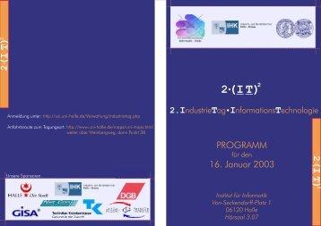 ( I T ) ( I T )2 - Lehrstuhl Technische Informatik der MLU Halle