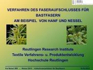 Verfahren des Faseraufschlusses für Bastfasern - NIUTEX 2010