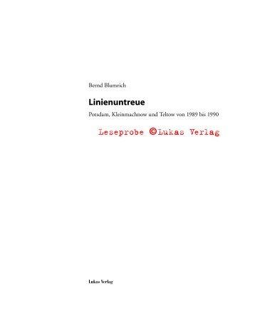 Potsdam, Kleinmachnow und Teltow von 1989 bis ... - Lukas Verlag