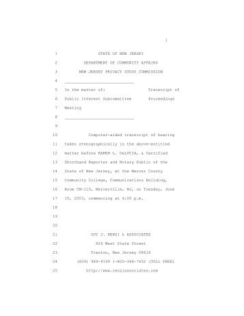 Transcript of Public Hearing - State of New Jersey
