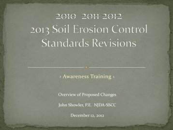 2010 2011 2012 2013 Soil Erosion Control Standards Revisions