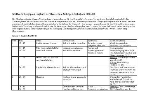 Stoffverteilungsplan Englisch der Realschule Sulingen