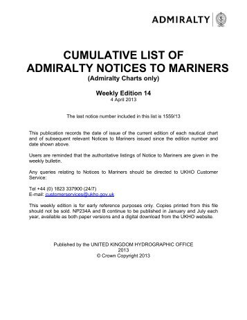 cumulative list of admiralty notices to mariners - United Kingdom ...