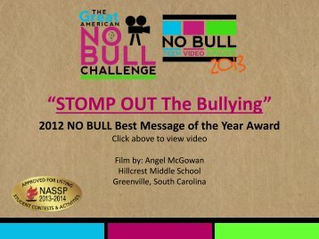 """STOMP OUT The Bullying"" - The Great American NO BULL Challenge"