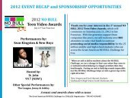 2012 EVENT RECAP and SPONSORSHIP OPPORTUNITIES
