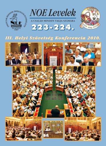 223-224. számú NOE Levelek - Nagycsaládosok Országos Egyesülete