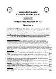 Antiquariats-Angebot Nr. 131 Eisenbahn - Antikbuch24