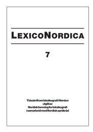 LEXICONORDICA 7 - Nordisk Sprogkoordination