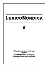 LEXICONORDICA 8 - Nordisk Sprogkoordination