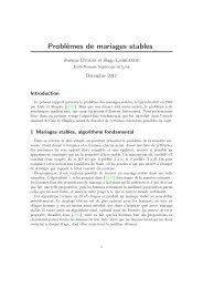 Problèmes de mariages stables