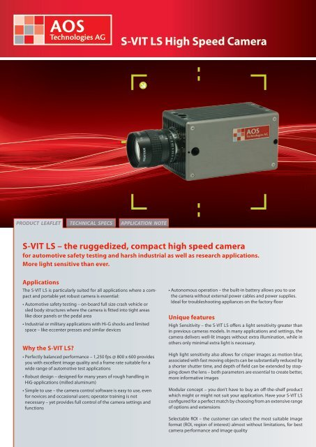 S-VIT LS High Speed Camera - AOS Technologies AG