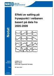 Effekt av salting på frysepunkt i veibanen basert på data fra 2005-2009