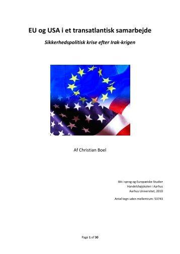 EU og USA i et transatlantisk samarbejde - PURE - Aarhus Universitet