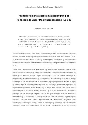 Antiterrorismens algebra: Statsopbygning og fjendebillede ... - PURE