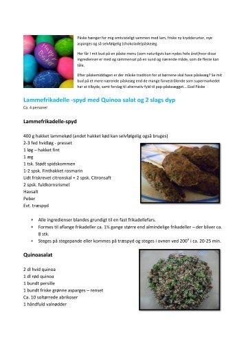 Lammefrikadelle -spyd med Quinoa salat og 2 slags dyp