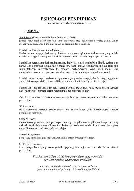 Psikologi Pendidikan Pdf Staff Uny