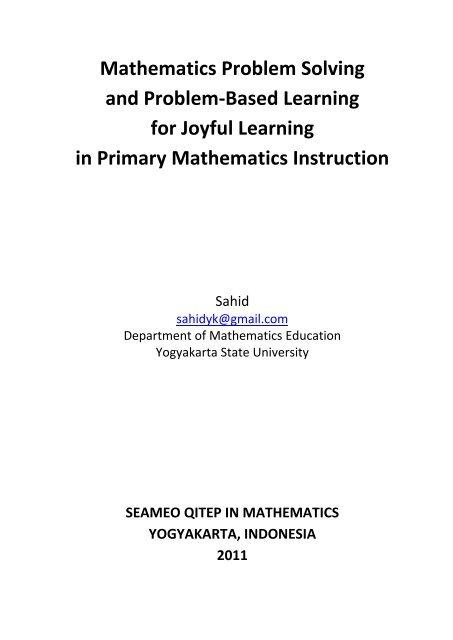 Mathematics Problem Solving and Problem-Based ... - Staff UNY