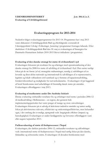 Evalueringsprogram for 2013-2014 - Udenrigsministeriet