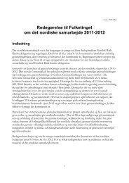 Redegørelse til Folketinget om det nordiske samarbejde 2011-2012