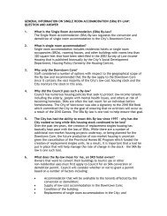 Single Room Accommodation Bylaw fact sheet - City of Vancouver