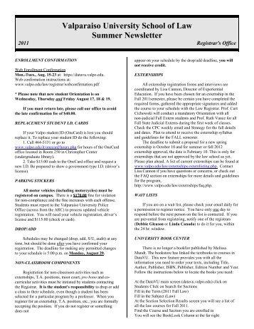 J:\Summer Newsletter\Summer.11.wpd - Valparaiso University