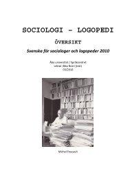 SOCIOLOGI – ALLMÄN ÖVERSIKT