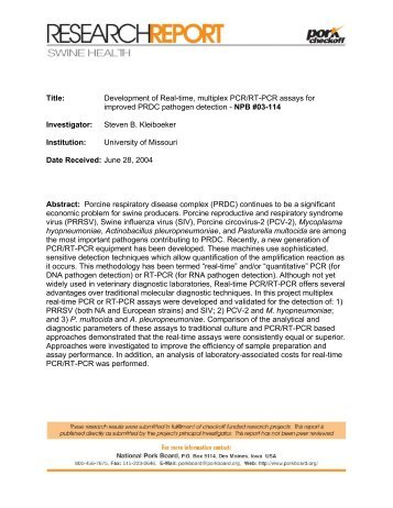 Title: Development of Real-time, multiplex PCR/RT-PCR assays for ...