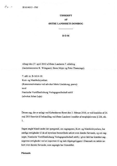 B1614015 Fm Udskrift Af Ostre Landsrets Dombog
