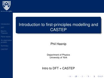 Introduction to first-principles modelling and CASTEP - Www Users ...