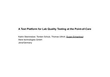 A Test Platform for Lab Quality Testing at the Point-of-Care A Test ...