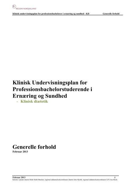 Klinisk Undervisningsplan for Professionsbachelorstuderende i ...