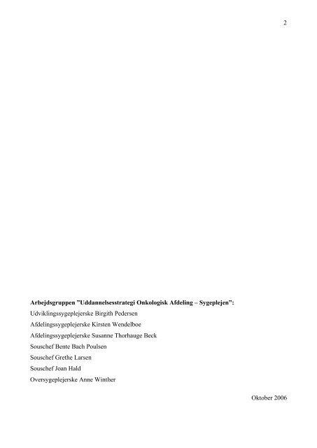 Uddannelsesstrategi Onkologisk Afdeling 2006 - 2010