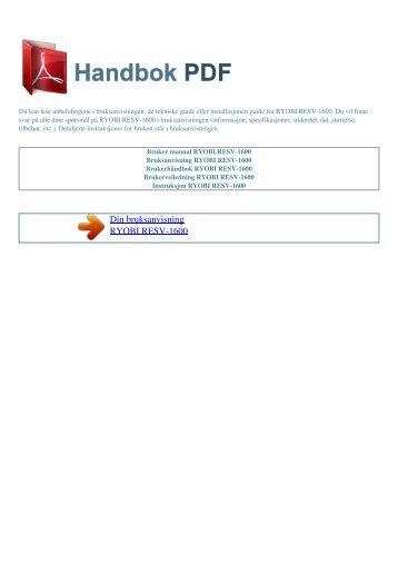 Bruker manual RYOBI RESV-1600 - HANDBOK PDF
