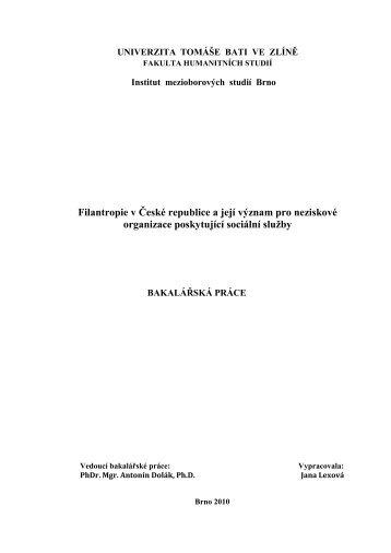 Filantropie v České republice a její význam pro ... - DSpace UTB