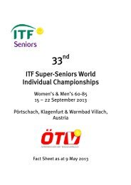 2013 ITF Super-Seniors World Individual Championships Fact Sheet