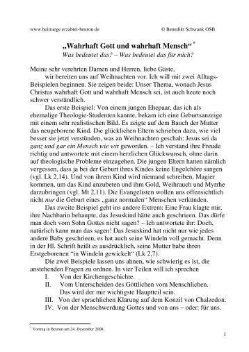 """""""Wahrhaft Gott und wahrhaft Mensch"""" - Erzabtei Beuron"""