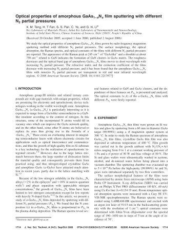 Optical properties of amorphous GaAs1−xNx film sputtering with ...