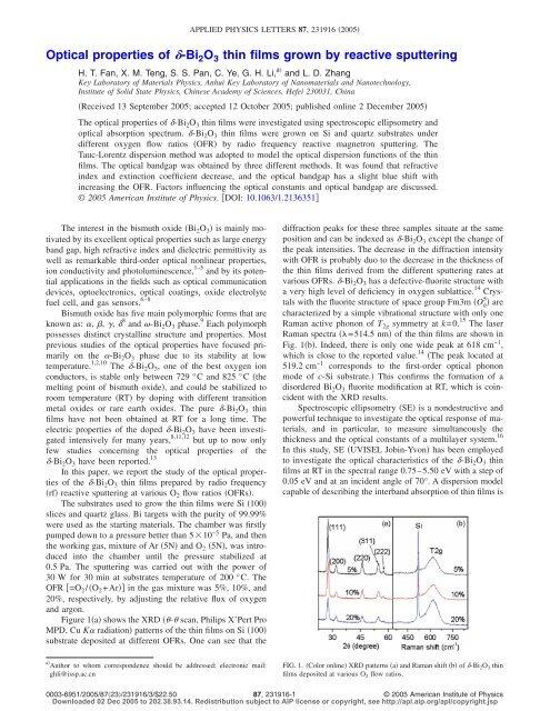 Optical properties of d-Bi 2 O 3 thin films grown by reactive sputtering