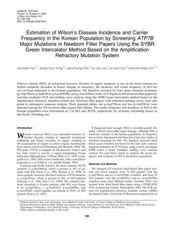 Estimation of Wilson's Disease Incidence and Carrier Frequency in ...