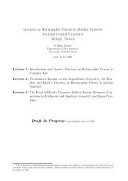 Lectures on Holomorphic Curves in Abelian Varieties - William A ...