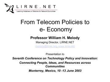 From Telecom Policies to e- Economy - lirne . net